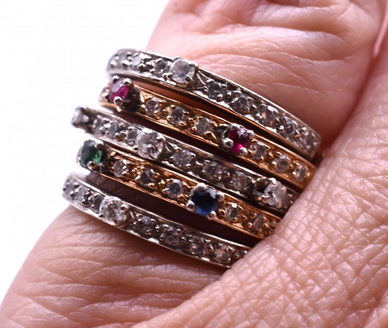 C1920 2 COLOR  WHITE AND YELLOW GOLD MULTI GEMSTONE HAREM RING