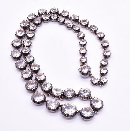 "C1820 ""Diamond"" Paste Riviere Necklace set in silver"