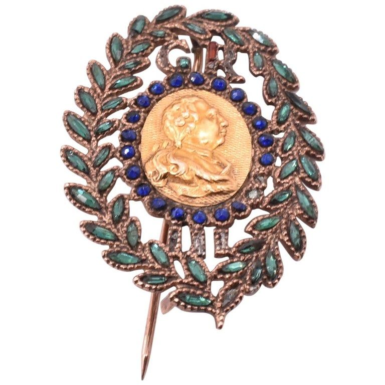 C1790 Vauxhall glass GEORGE III Brooch 18K and gilt metal back