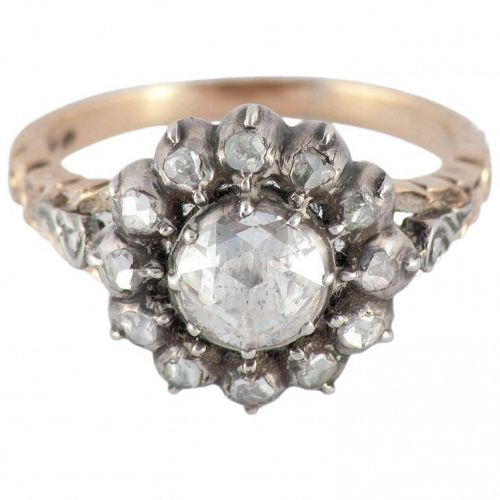 C1900 Antique Dutch 14K Rose Diamond Silver and Gold Cluster Ring