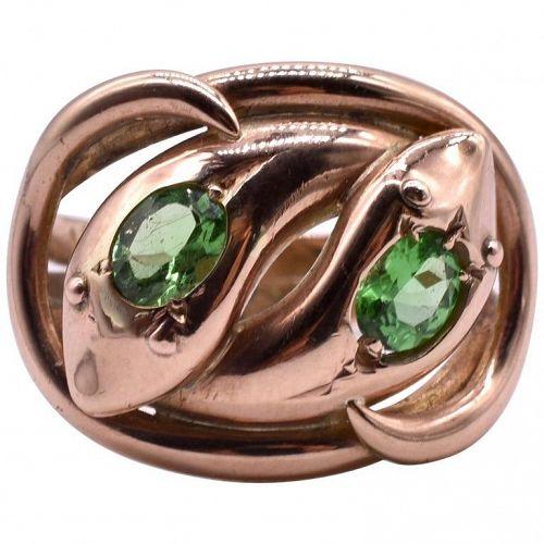 HM CHESTER 1909 9K Double Headed Snake Ring w green garnets