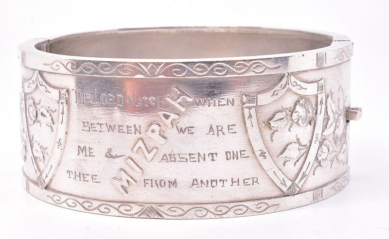 "HM B'HAM 1911 ""Mizpah"" Sterling Cuff Bracelet w Biblical Inscription"