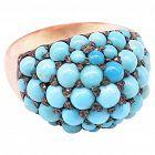 C1890 15ct turquoise bombe ring
