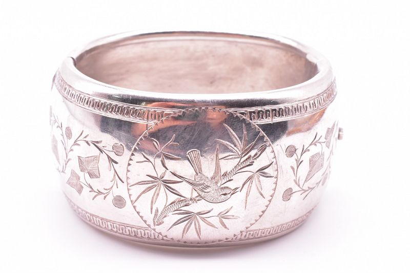 C1890 Bangle Bracelet  Wide Sterling with Bird Motif