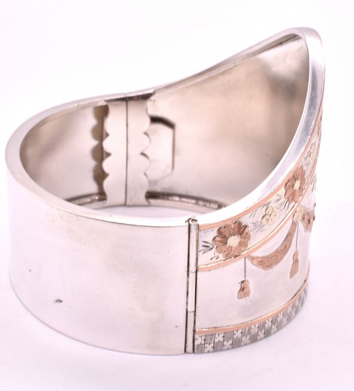 C1880 shaped sterling & gold cuff