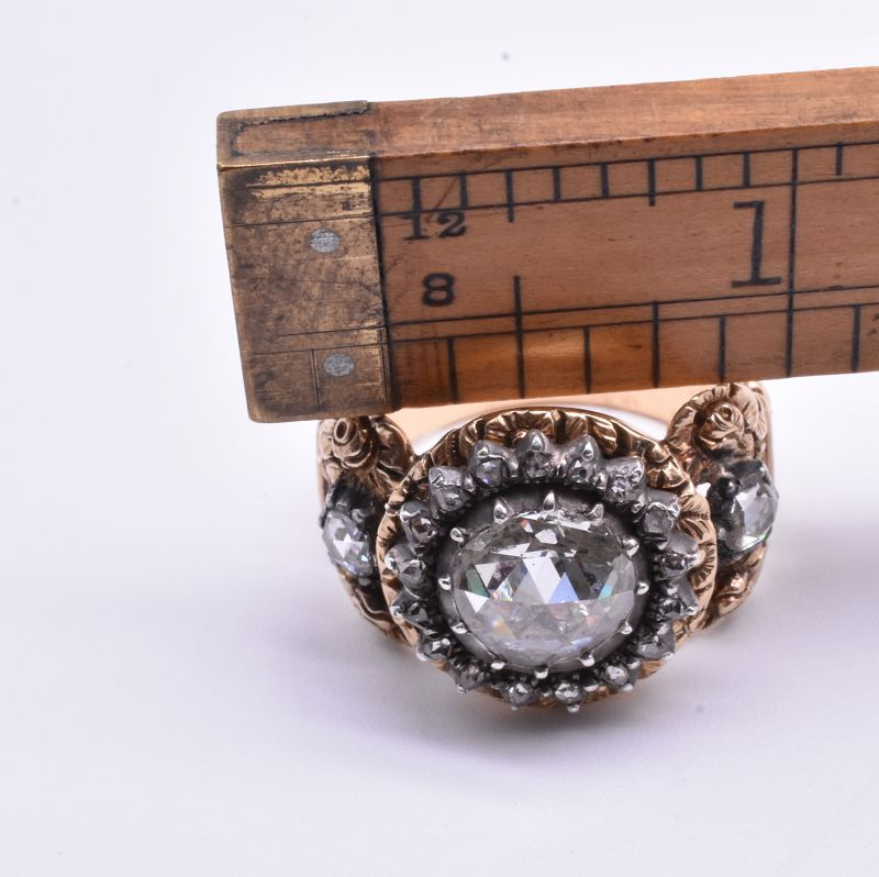 C1840 18k carved repousse shank & silver rose Diamond ring