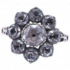 c1840 Antique Black Dot Paste Cluster Ring