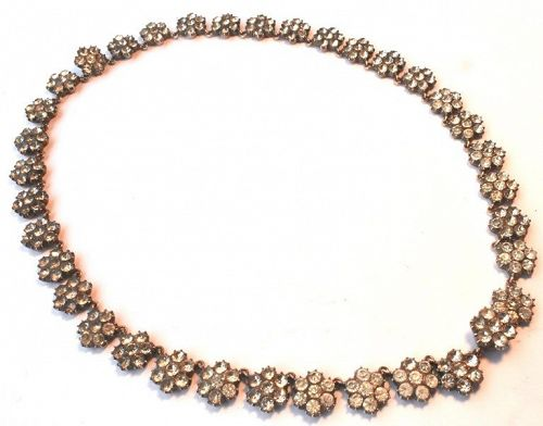 "Silver ""Diamond"" Paste Cluster Riviere Necklace"