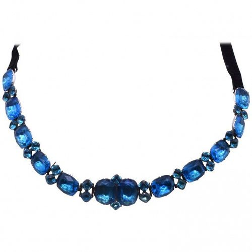 Queen Ann Turquoise Paste Choker Necklace