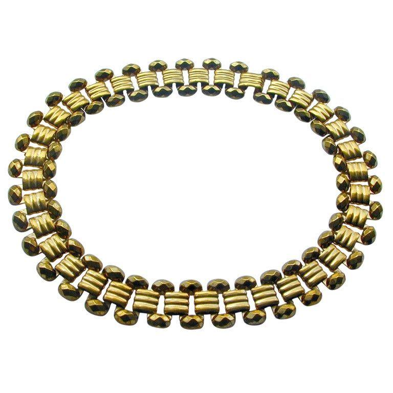 Gilt Metal Collar Necklace