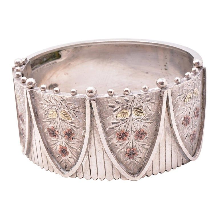 Silver Cuff Bracelet with 2 Color Gold Accents