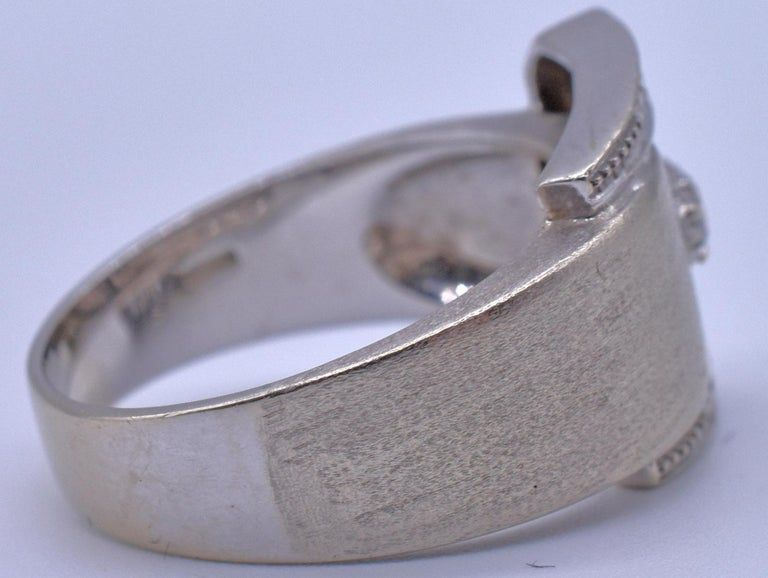 White Gold Midcentury Buckle Ring with Diamonds