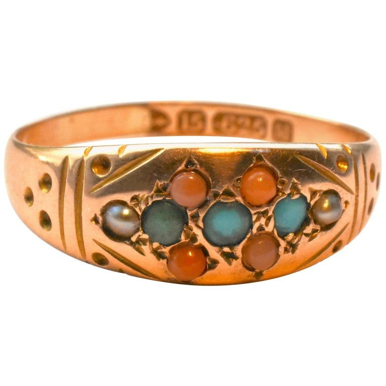 Turquoise Coral and Pearl Gold Gypsy Ring HM 1895