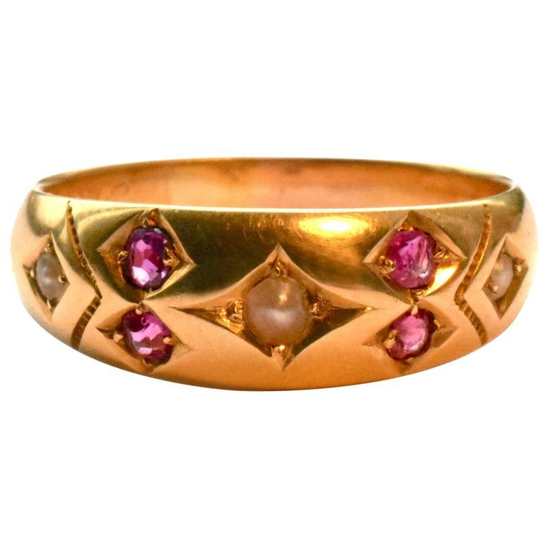 Gold Gypsy Ring with Rubies and Pearls