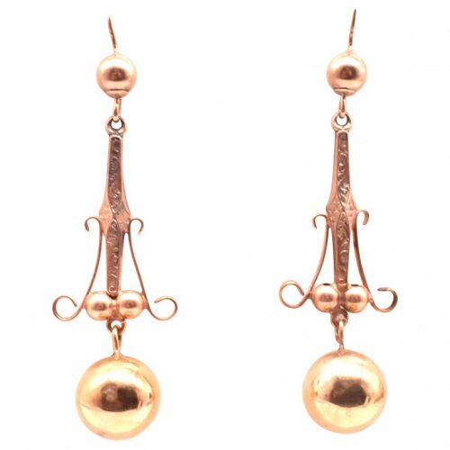 Rose Gold Ball Earrings, circa 1870