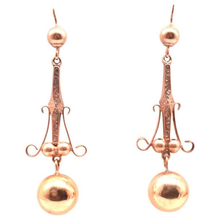Rose Gold Ball Earrings, circa 1870