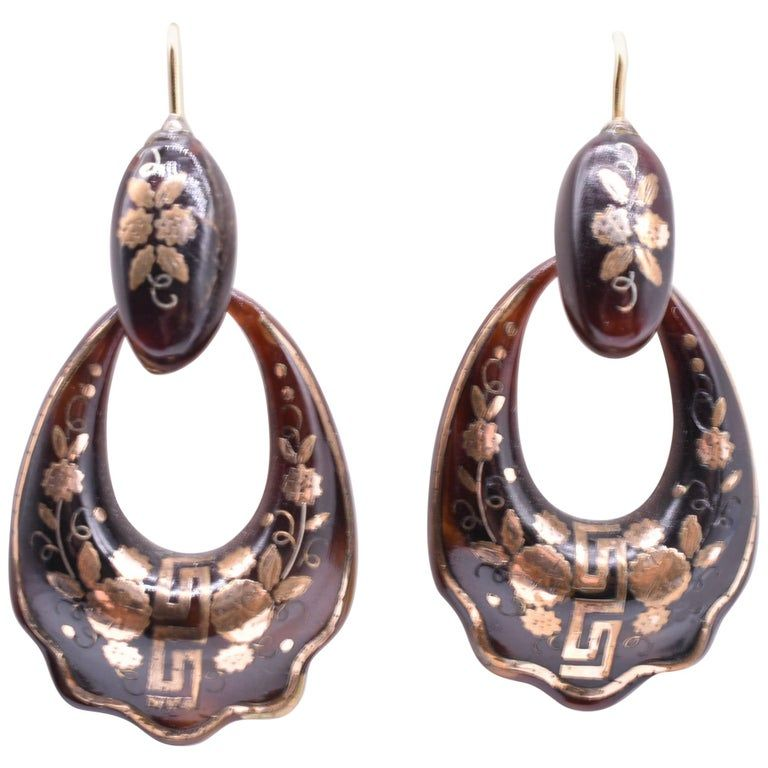 Pique Greek Key Hoop Earrings, circa 1870