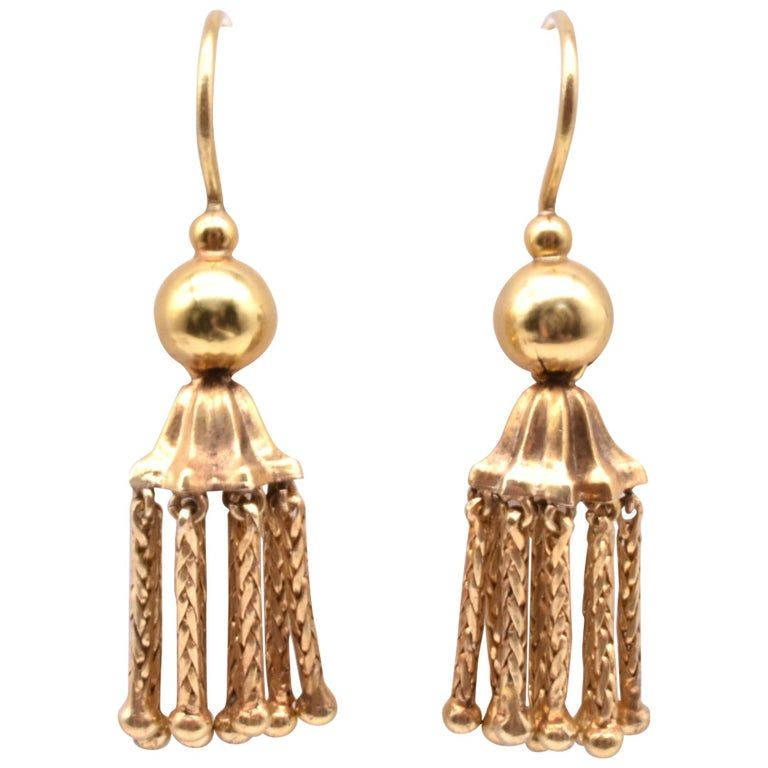 18 Karat Gold Tassel Drop Earrings
