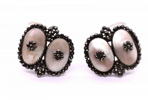 Coque de Perle and Pyrite Earrings