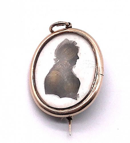 Miers & Field Painted Silhouette Miniature Portrait of an Unknown