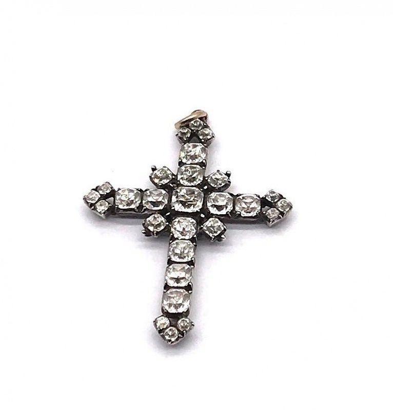 Sterling Silver Paste Cross Pendant C. 1780