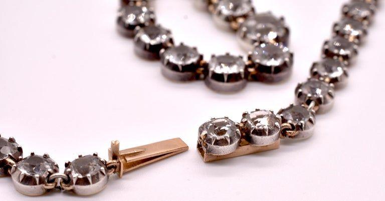 C1820 Georgian Rock Crystal Open Back Riviere Necklace