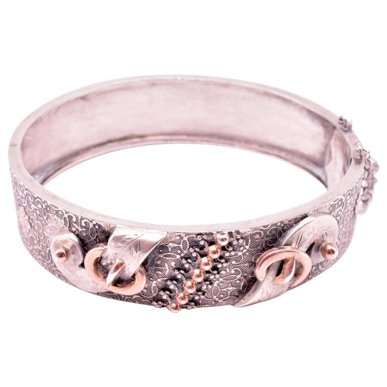 C1860 French silver gold bangle bracelet