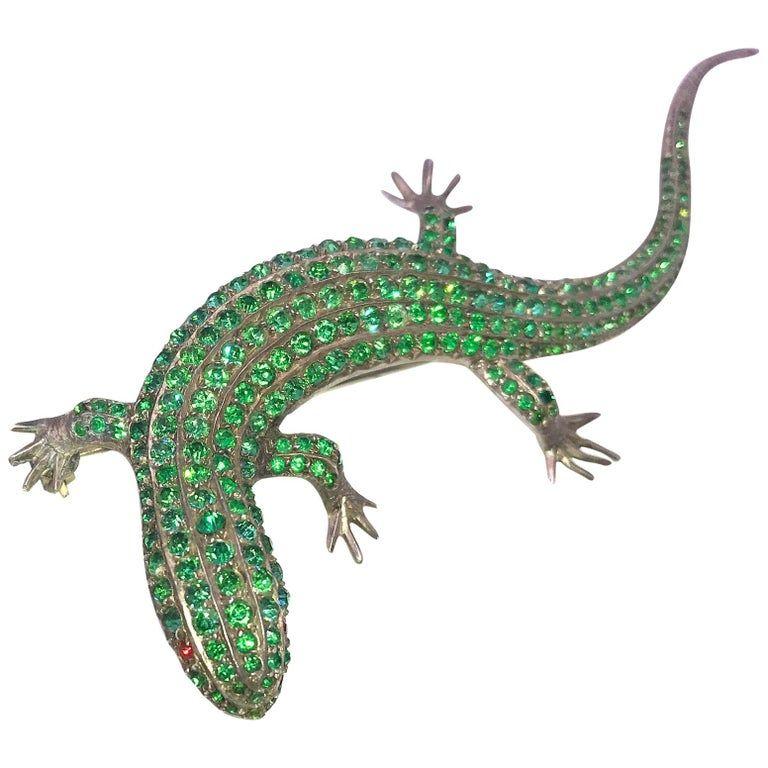 Green Paste Lizard Brooch on Sterling C.1910