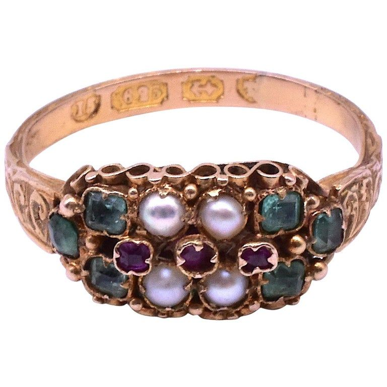 HM B'ham 1868 15 Carat Emerald Pearl Ruby Band Ring