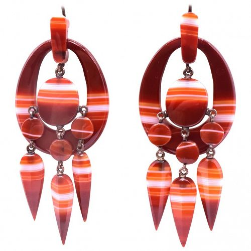 Carnelian Striped Agate Earrings