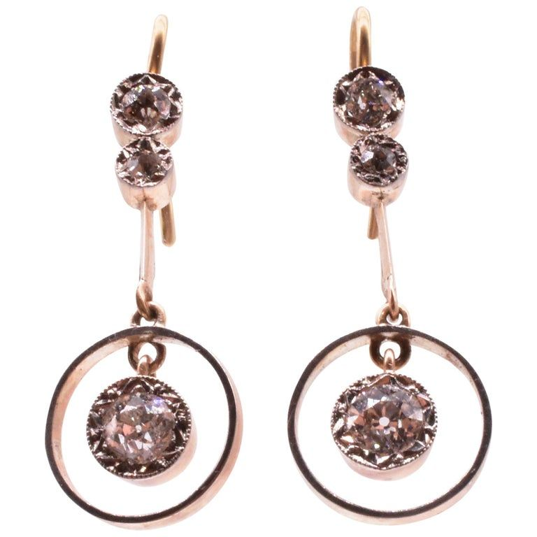 White and Yellow Gold Circle Drop Earrings C. 1900