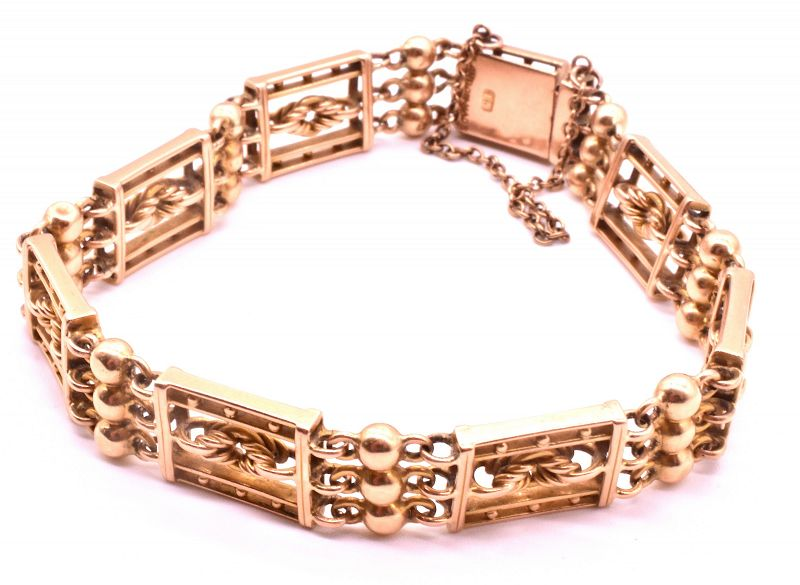 C.1930 15k Bracelet with Lovers Knot and Balls
