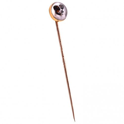 c1880 Essex rock crystal 18 ct. Jack Russel Dog Stickpin