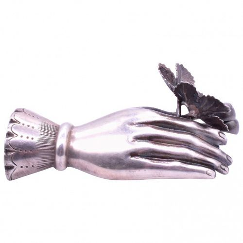 C1840 Sterling silver Hand brooch with strawberry leaves & fruits