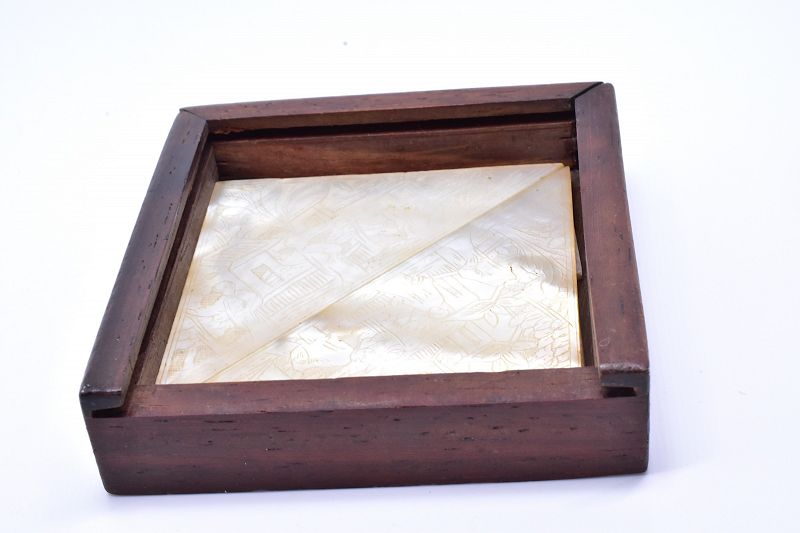 C. 1880 Wood Box Engraved Mother of Pearl