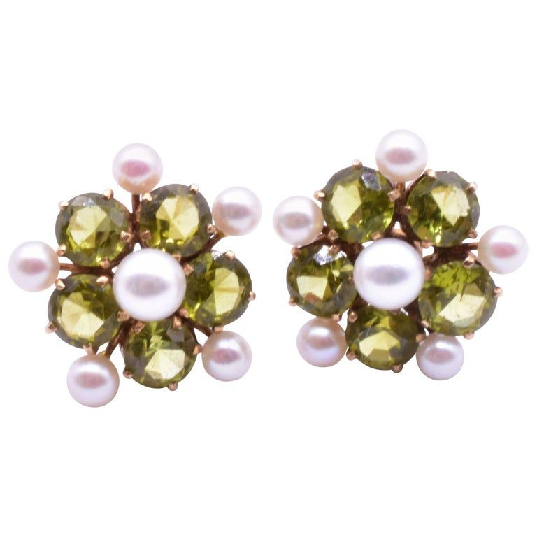 18K Mid Century Peridot & Pearl Forget Me Not Style Earrings