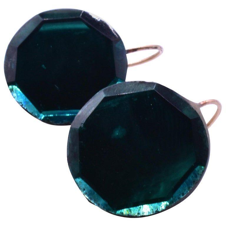C.1840 Teal Round Earrings