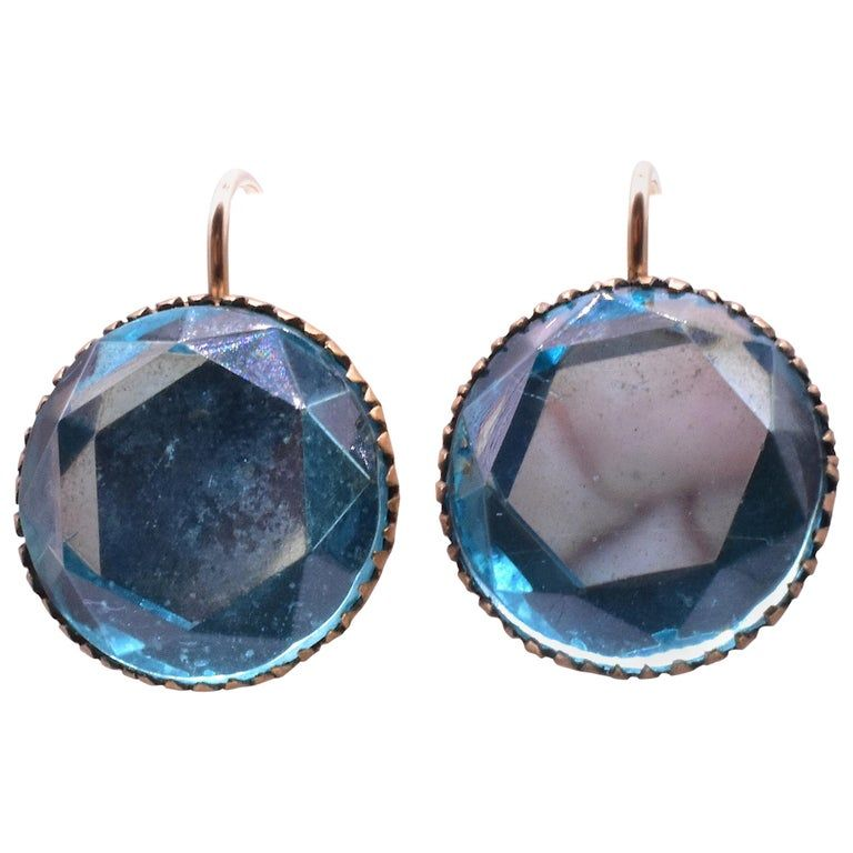 C. 1880 Aqua Metal Set Earrings