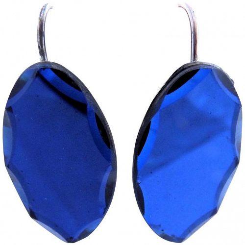 C. 1840 Blue Beveled Oval Earrings