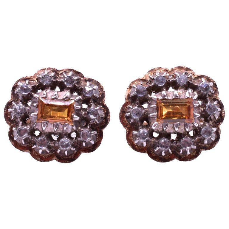C.1880 15k Citrine Button Diamonds Earrings