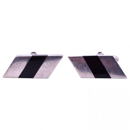 Antonio Pineda Sterling and Rectangle Onyx  Cufflinks, Circa 1950