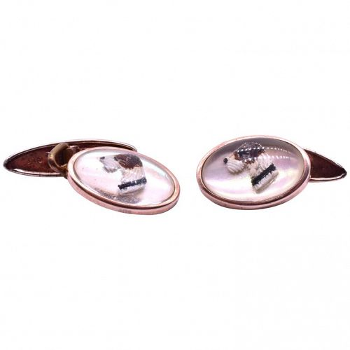Painted Dog Cufflinks, C. 1940