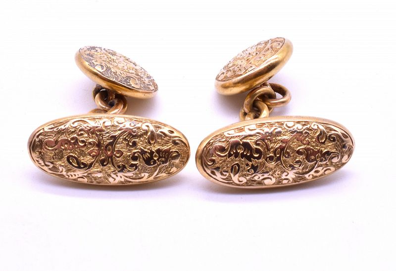 15k Double sided Reversible Oval to Round Cufflinks, C. 1880