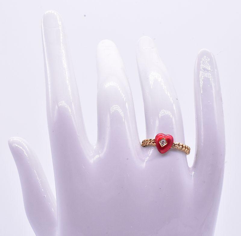 Twisted Shank Enamel Diamond Heart Ring, C. 1900