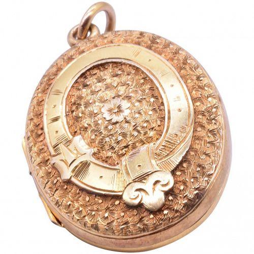 "15 Karat Chased ""Belt & Buckle"" Motif Antique Locket, circa 1880"