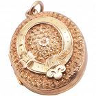 "15 Karat Chased ""Belt & Buckle"" Motif Antique Locket, circa 1880"