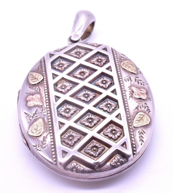 HM B'ham 1890 Sterling Locket with 2 Color Gold Leaves