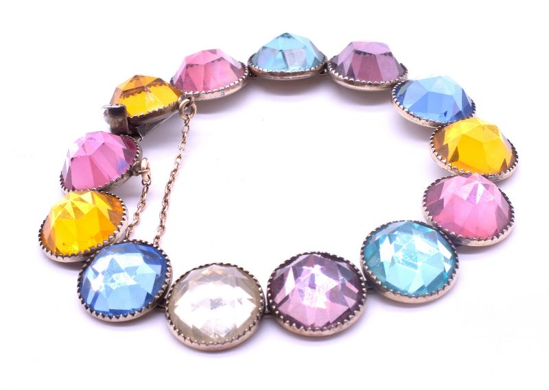 Harlequin Glass on Sterling Bracelet, circa 1940