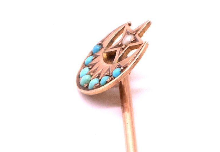 9K Sun Moon and Star Turquoise and Pearl Stickpin HM 1902