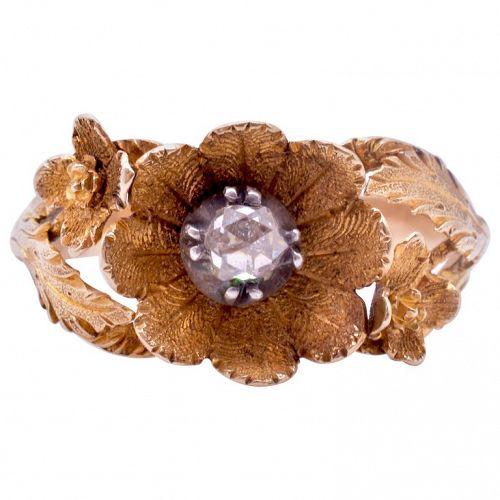 Georgian Flower Head and Diamond Ring c.1830
